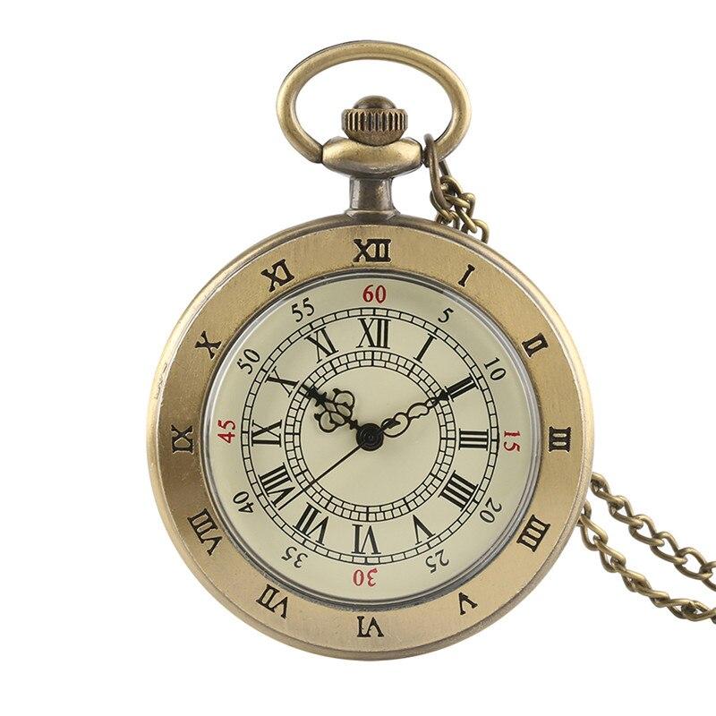 Antique Retro Transparent Brown Men Women Quartz Pocket Watch Cover Necklace Chain Graceful Pendant