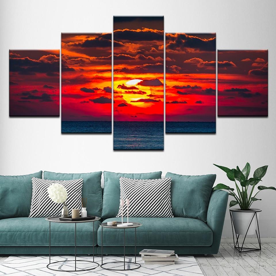 Cuadros de arte de pared HD estampado de decoración moderno 5 piezas hermoso mar atardecer paisaje Marco modular lienzo fotos carteles