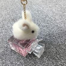 LLavero de Mini conejito, niña, conejo, piel de visón Real, cadena para mochila, colgante de abalorio, colgante de piel de conejo para mujer, colgante para teléfono