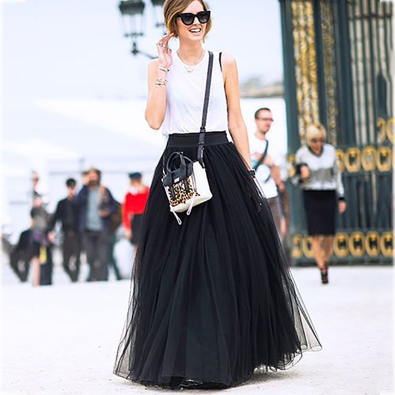 AliExpress - 4 Layers 100cm Maxi Long Tulle Skirt Elegant Princess Fairy Style Tutu Skirts Womens Vintage Bouffant Puffy Fashion Skirt