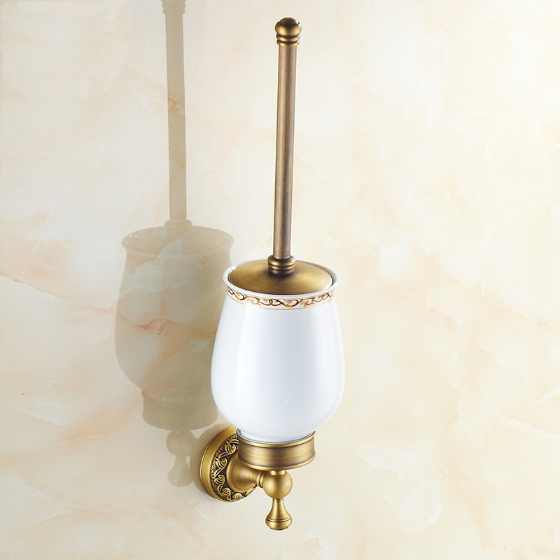 مجموعة حامل فرشاة المرحاض النحاسية السحرية ، حامل فرشاة المرحاض المثبت على الحائط ، وعاء نحاسي أوروبي