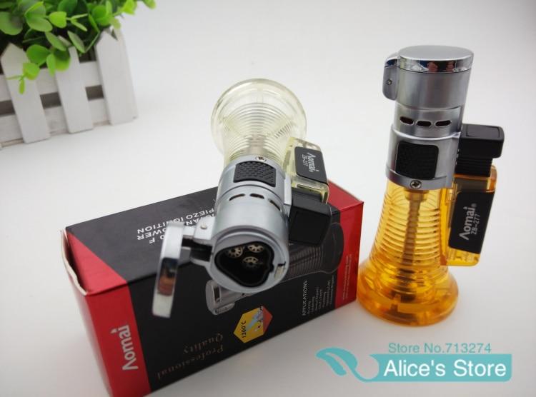 New 1pcs Stormproof Lighter Butane Refillable Windproof Cigar Lighter Hot 3 Jets Torch Lighter With Gift Box AM 277
