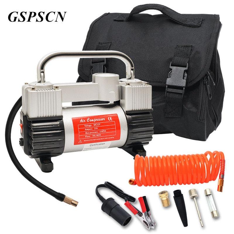 Насос GSPSCN для шин, сверхмощный двойной цилиндр с портативным мешком, 12 В, Металлический воздушный компрессор, 150 psi с адаптером
