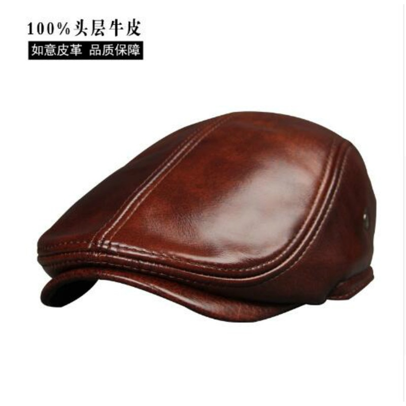 aorice new winter cotton cap genuine leather baseball cap hat men s real leather adult adjustable solid hats caps 3 colors hl132 2017 New Arrival Genuine Cowhide Leather Hats Men's  Adult  Leather Cap Spring Autumn Winter Cotton Visor Caps  B-7232