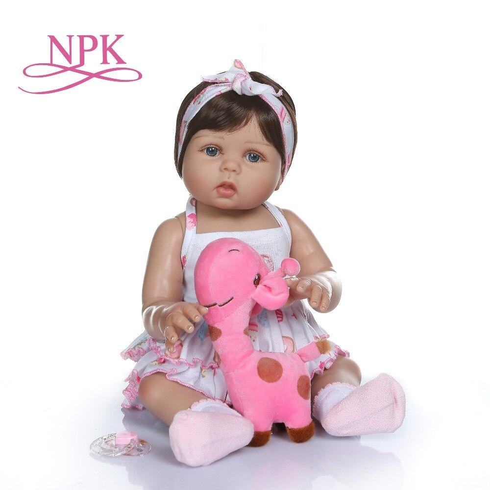 NPK 47CM newborn bebe doll reborn baby girl  doll in tan skin full body silicone Bath toy dolls Xmas Gfit