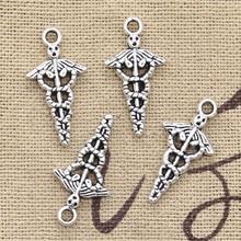 Breloques 12 pièces caducée symbole médical md 23x11mm Antique faisant pendentif ajustement, Vintage tibétain couleur argent, bricolage fait main bijoux