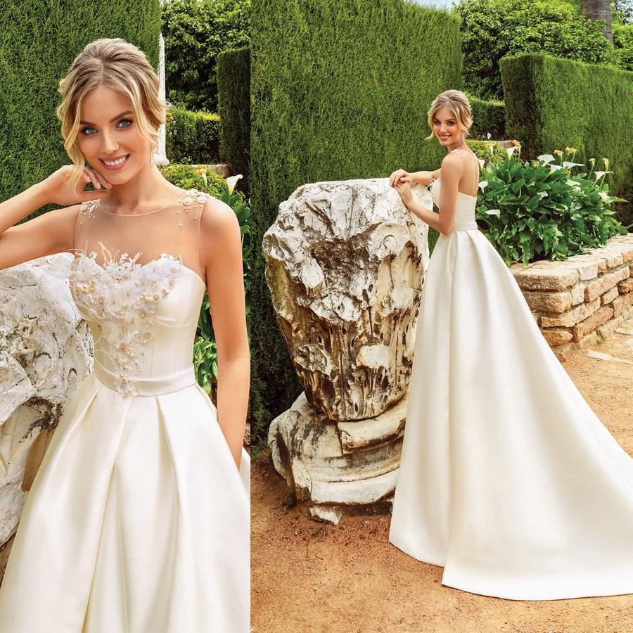 Satin O-neck Tulle Pearls Lace Applique A-line Wedding Dress with A belt Zipper Back Sweep Train Bridal Dress vestido de novia