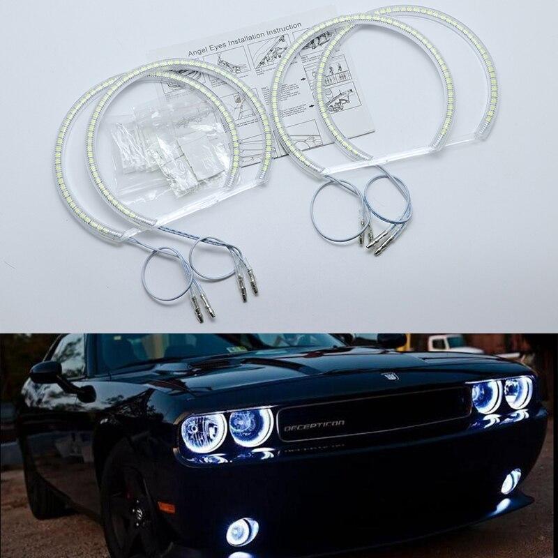 Ultra helle SMD weiß LED angel eyes halo ring kit tagfahrlicht DRL für Dodge Challenger 2008-2015