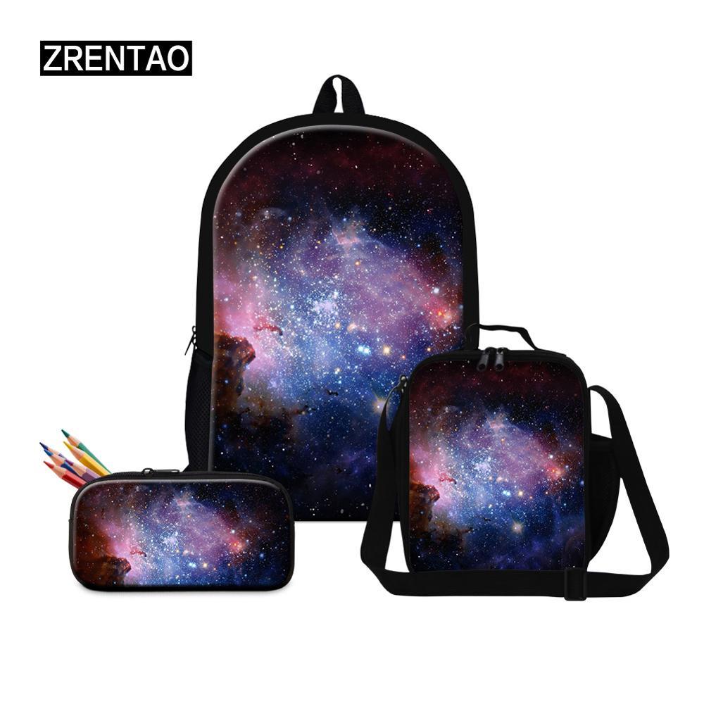 Espacio Exterior universo rojo/azul/negro mochilas escolares conjuntos Oxford gran mochila escolar para estudiantes de primaria/secundaria los niños de 16 pulgadas