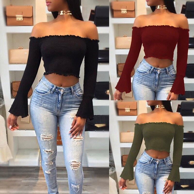 ITFABS recién llegados de moda caliente para mujeres damas Frill Bardot fuera del hombro Jumper acanalado de manga larga Crop Tops