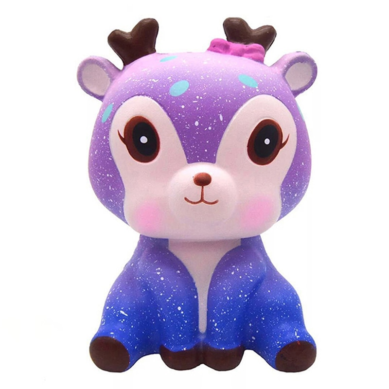 Jumbo Kawaii colorido Galaxy Deer Squishy Slow Rising Squeeze Toys crema dulce perfumado juguete antiestrés para regalo de Navidad divertido chico