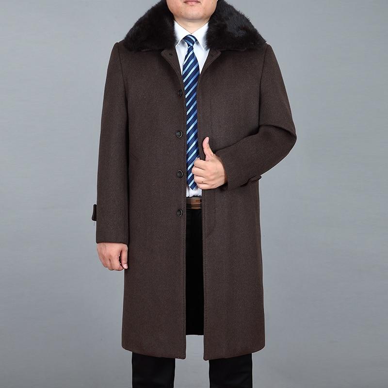 2020 abrigo largo de lana de Cachemira de alta calidad para hombre abrigo largo de mezcla de lana piel de conejo Real Chaqueta larga de hombre M-4XL