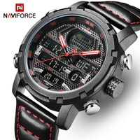 NAVIFORCE Top Luxury Brand Men Sports Watches Mens Military Quartz Digital Waterproof Watches Man Date Clock Leather Wrist watch