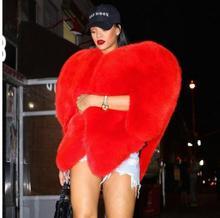 3D Red Love Heart Shaped Cape sztuczne futro z lisa grube ciepłe gwiazdy kobiety długie owłosione Shaggy płaszcz kurtka odzież wierzchnia zimowa bluza K871