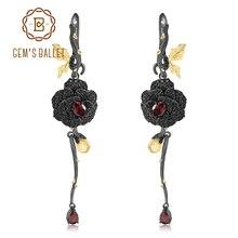 GEMS BALLET 1.76Ct naturel grenat Rose fleur boucles doreilles 925 en argent Sterling à la main conception boucles doreilles pour les femmes bijoux fins