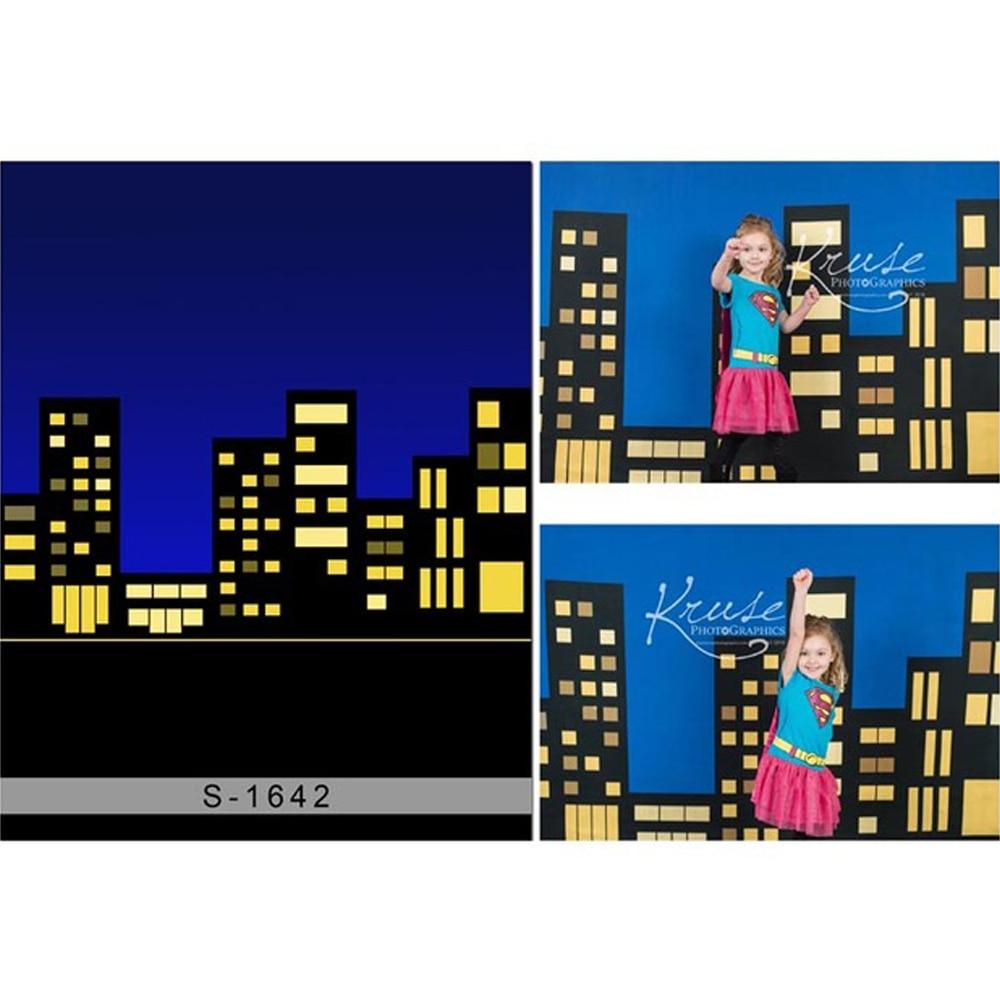 Fondo fotográfico cielo Noche azul oscuro edificios de ciudad accesorios para bebés recién nacidos niños niñas fiesta de superhéroes fondos temáticos