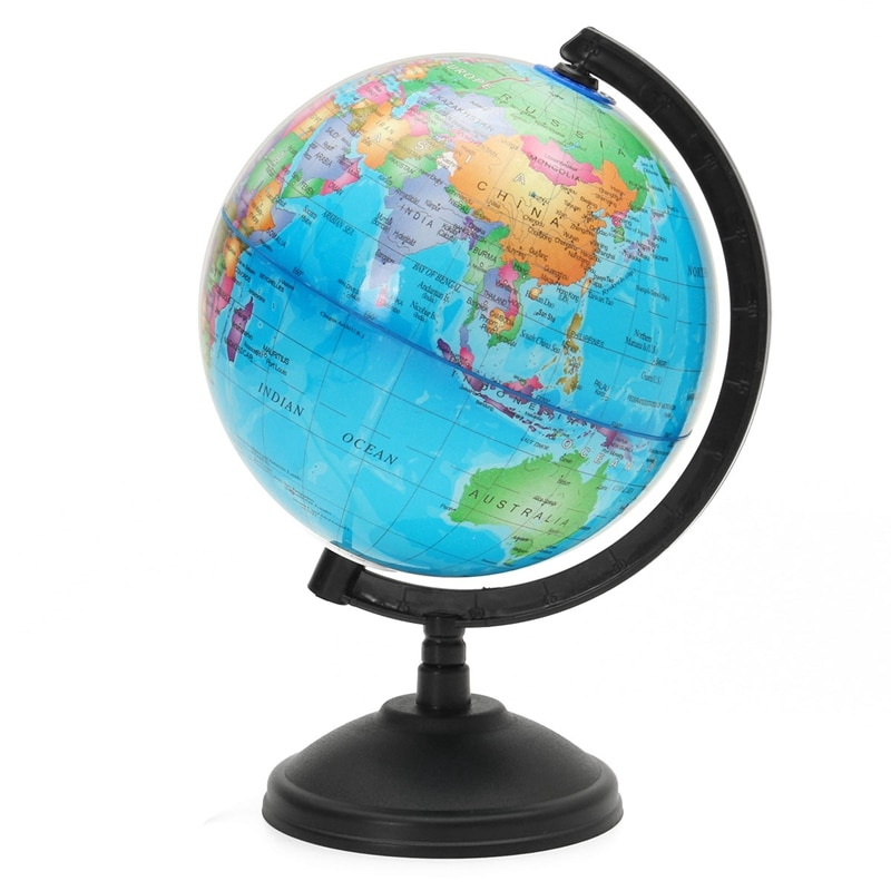 14.16CM LED Light World Earth Globe Map Geography Educational Toy With Stand Home Office Ideal Minia