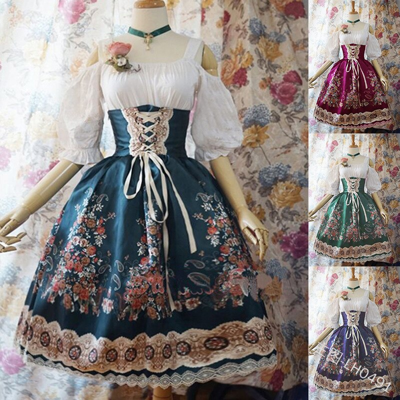 Summer Cosplay Maid Court Dress Lolita Dress Women Dress Retro Lace Dress Medieval Gothic Dress For Girls Palace Costume S-5XL
