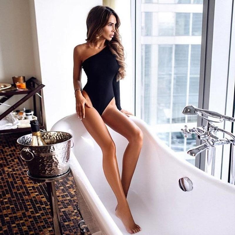 Black One Shoulder Basic Bodysuit Rib Knit Elegant Women Sexy Autumn Bodysuits 2019 Fashion Long Sle