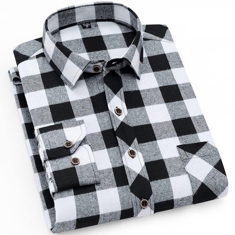 De los hombres con estilo de manga larga a cuadros comprobado cepillado vestido de camisa con bolsillo en el pecho de forma estándar cómodo Casual camisas de franela