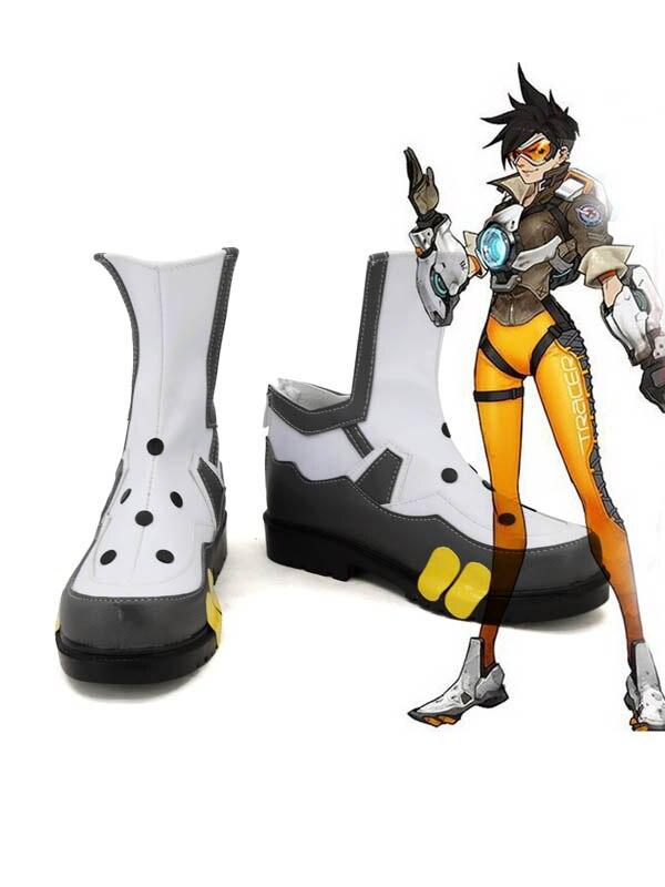 OW traceur Lena Oxton jeu Cosplay bottes chaussures hommes Cosplay Costume chaussures de fête bottes sur mesure