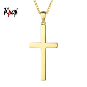 Kpop 925 Sterling Silver Cross Necklace Chrisitan Jesus Jewelry Gold Color Simple Cross Necklace for Women P6450
