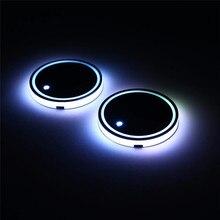 Auto Zubehör Innen 2 Pcs Universal Led Auto Tasse Halter Boden Pad Matte LED Licht Abdeckung Trim Atmosphäre Leuchtet ornamente