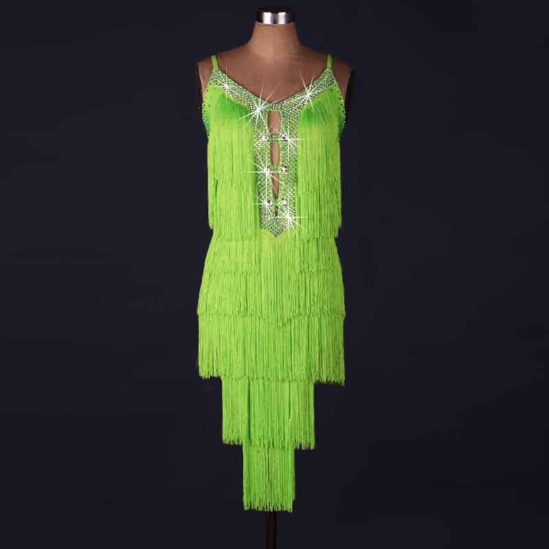 2017 adulto dama vestido de baile latino real de diamantes de imitación borla vestido de baile Lulú traje Danza Latina Samba Tango Mujer