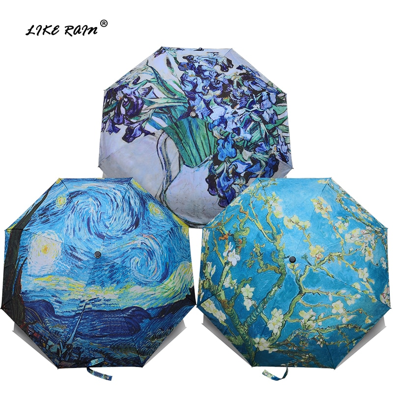 مثل المطر العلامة التجارية مظلة قابلة للطي الإناث يندبروف باراغواي فان جوخ النفط اللوحة مظلة المطر النساء جودة المظلات UBY01