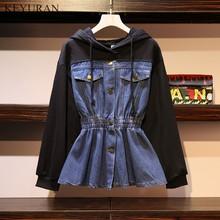 PLus Size 4XL Spring Autumn Patchwork Denim Jacket For Women Hooded Long Sleeve Elastic Waist Jaen Coat Casual Womens Clothing
