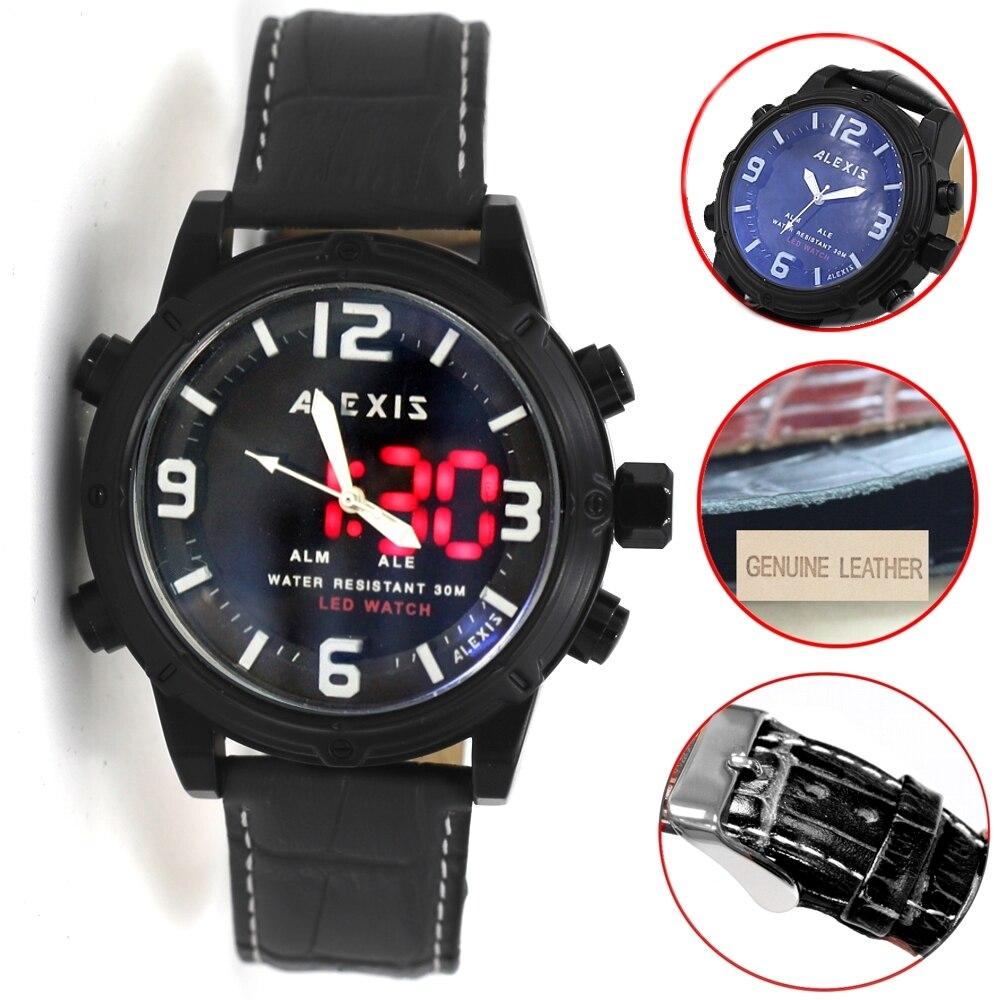 Alexis Marca Alarme Backlight Água Resistir Duplo Tempo Analógico Relógio Digital Masculino Relógios Montre Homme Horloge Mannen