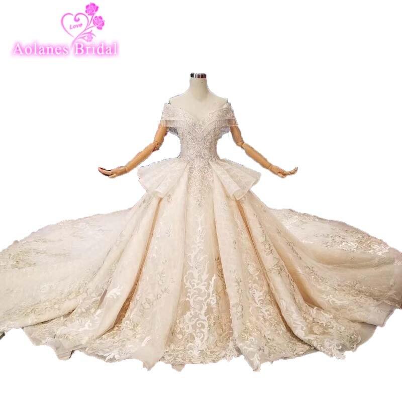 2019 New Style Vintage Lace Crystal Wedding Dress Supper Custom Made Bridal Wedding Dress 2019 Luxuriou Heavy Weight Bride Dress