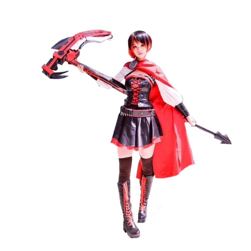 2017 Anime Ruby Rose Cosplay RWBY Red Dress Cloak Battle Uniform Hollowen Karneval Party Supply Costume