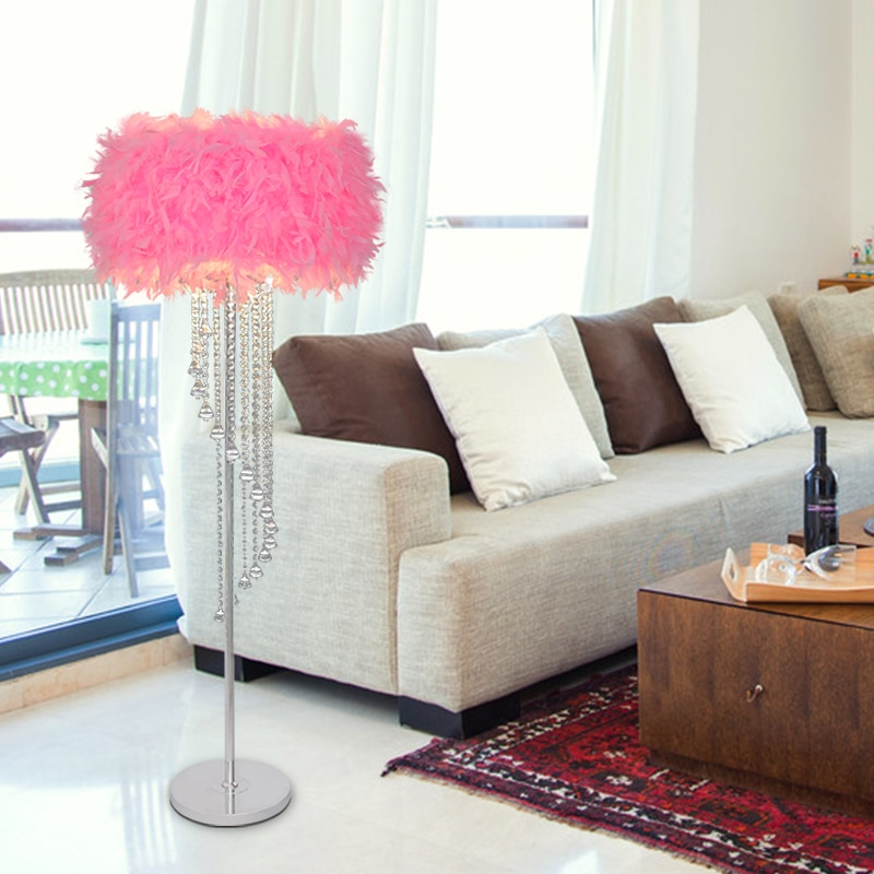 Lámpara LED de moda, Simple, cálida, pluma de gran calidad, lámpara de pie de cristal de alta calidad, lámpara de cristal
