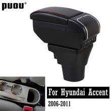 Para Hyundai Accent Verna 2006-2011 doble capa de cuero PU apoyabrazos caja gran espacio tienda Central compartimento de almacenamiento con carga USB ash