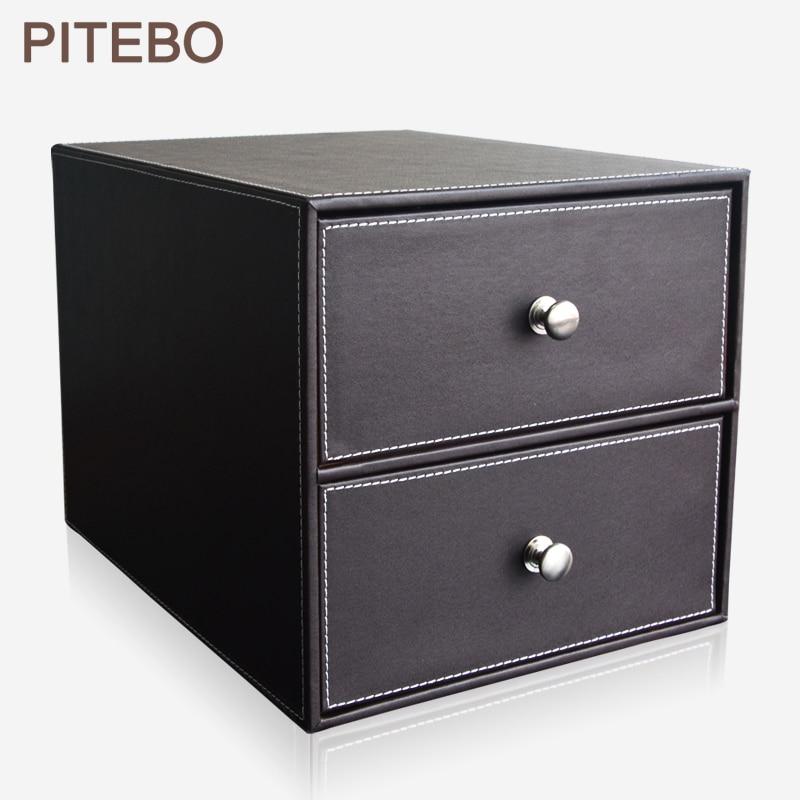 PITEBO brown 2-drawer leather office desk file cabinet organizer holder file document storage box