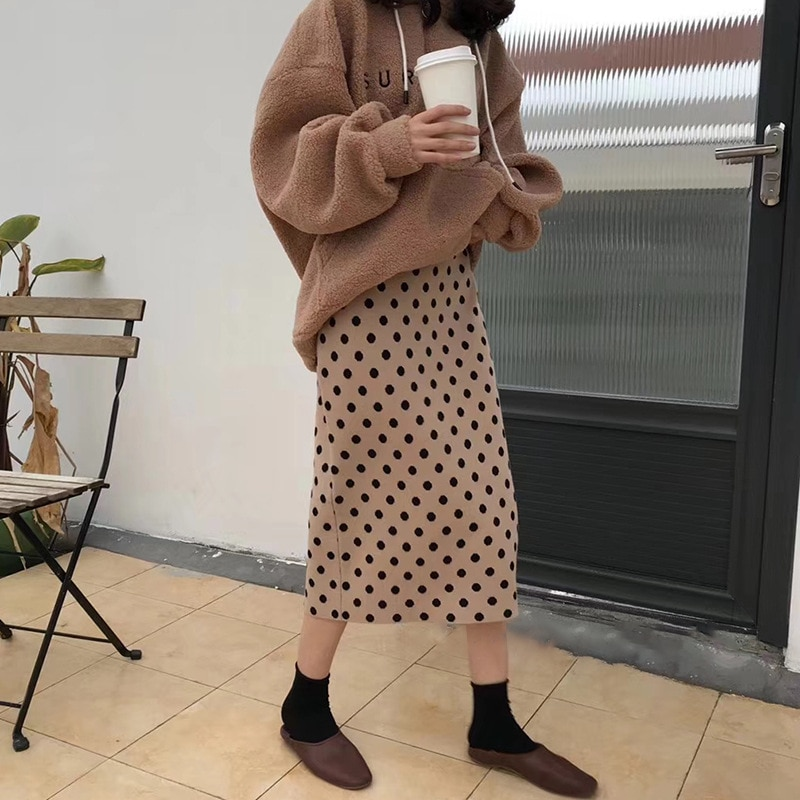 2019 Faldas para mujer en otoño de cintura alta tejidas Falda larga ajustada Faldas Jupe Femme Saia Dots Print mujer Sexy falda lápiz