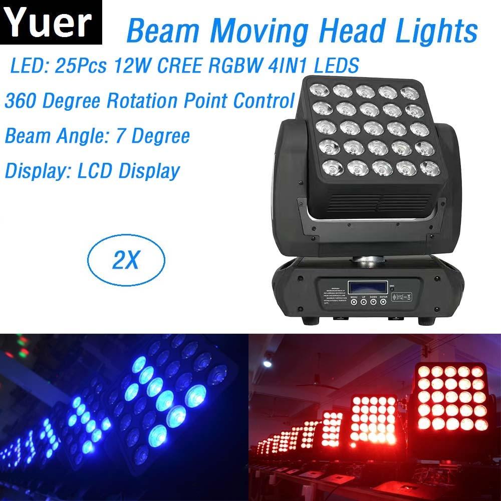 2 equipos de Dj unids/lote, 25x12W, matriz LED de haz, luces con cabezales móviles CREE, lámpara LED, luces de discoteca para decoraciones de Navidad y bodas
