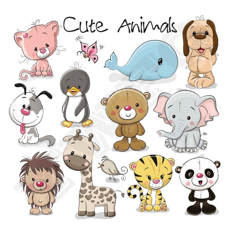 Autocollants animaux mignon ours   Autocollants lavables à même la peau, pour T-Shirt enfant, transfert de chaleur, joli dauphin, cadeau bricolage pour vêtements