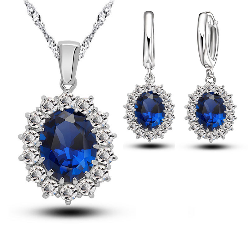 hibride luxury clear cubic zircon women jewelry sets bridal wedding wihte gold color necklace set parure bijoux femme n 280 Bridal Wedding Jewelry Sets Women Crystal 925 Sterling Silver Blue Cubic Zircon Engagment Earrings Pendant Necklace Set