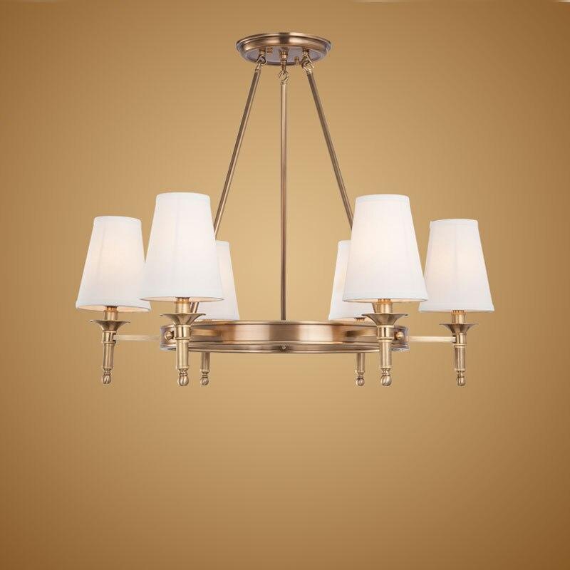 Candelabro moderno de bronce Real de cobre para dormitorio, cocina, sala de estar, pantalla de tela, techo, iluminación del hogar BLC014