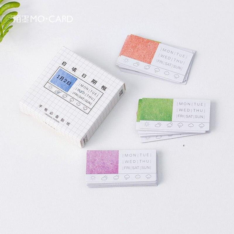 45 unids/caja fecha semana tiempo pegatina de papel para decoración DIY álbum de recortes diario etiqueta favorito de los niños papelería TZ73