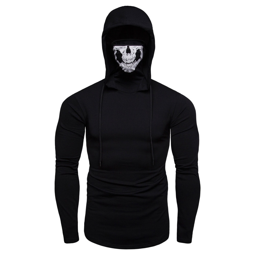 Hoodies Men Autumn Outwear Hoodies Jacket Casual Solid Color Long Sleeve Hooded Sweatshirt With Mask Skull Tops Pullover Hoody