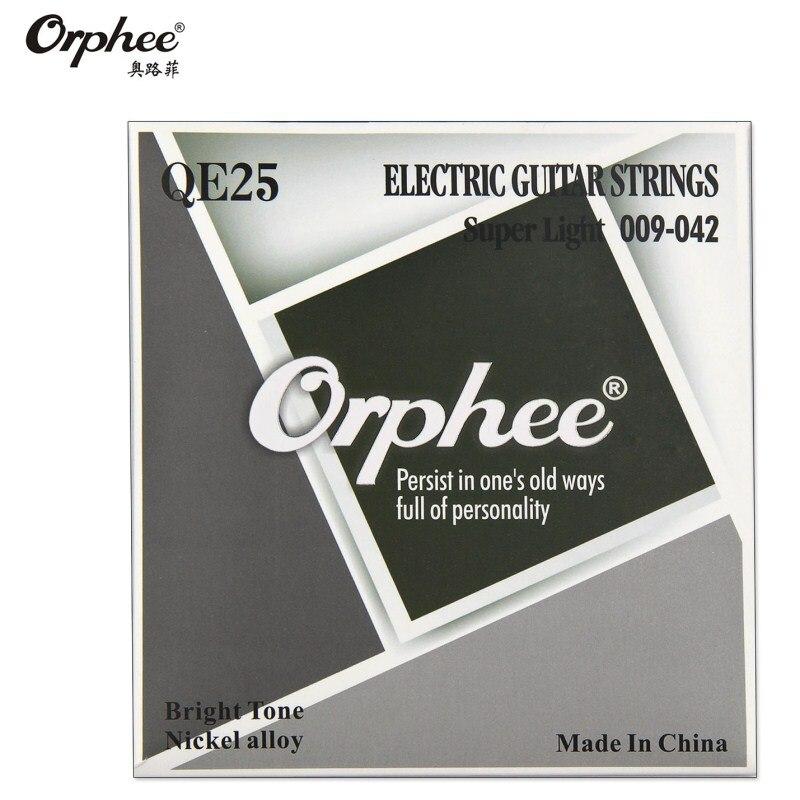 Струны для электрогитары Orphee QE25 009-042, шестиугольный никелевый сплав, сверхлегкие яркие тона, аксессуары для гитары