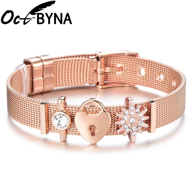 Octbyna New Fashion Strap Mesh Bracelet For Women Love Heart Charms Wristband Fine Bracelet&Bangle Adjustable Jewelry