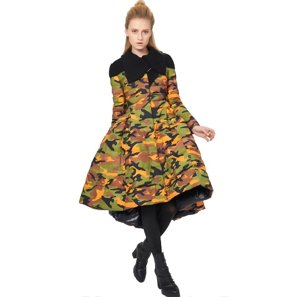Inverno elegante originalidade modelagem design atraente grande hemline magro Jaqueta fina para baixo da menina casaco para baixo das mulheres 80988- 1