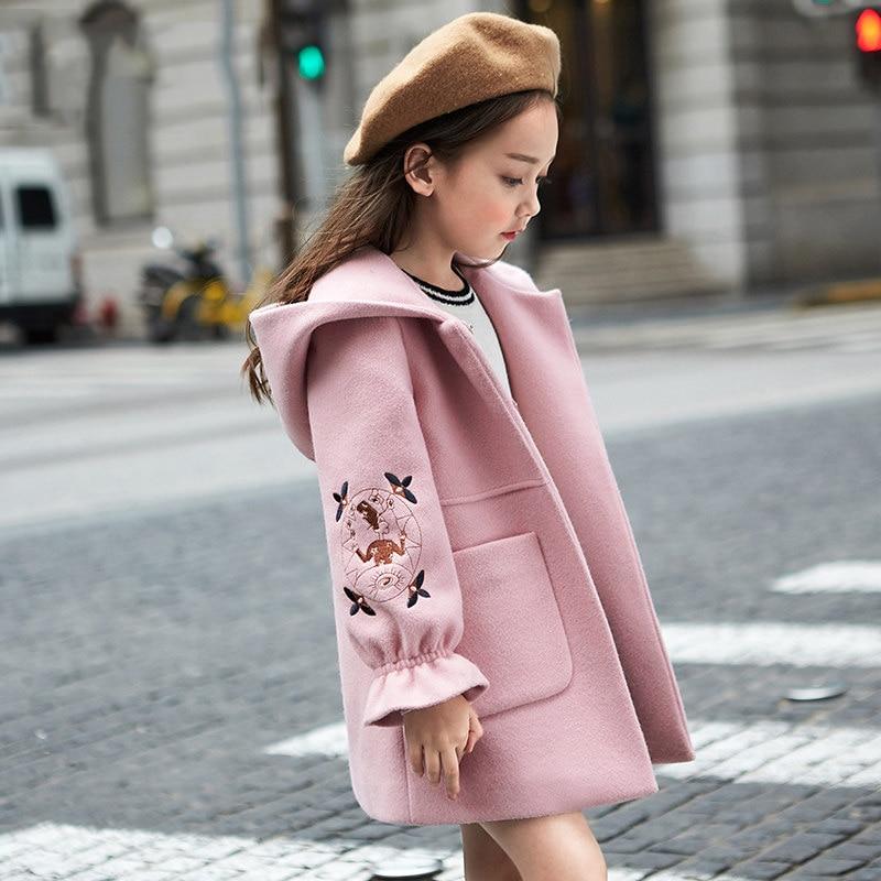 2019 Autumn Winter Girls Woolen Coat Pink Red Flores Design Petal Sleeves Long Jacket for Kids Age 8 10 12T Yrs Old windbreaker