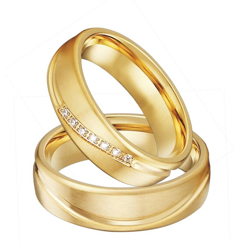 Набор обручальных колец для мужчин и женщин, золотой цвет, ювелирные изделия из нержавеющей стали