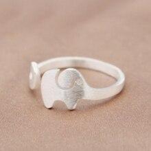 Mloveacc 925 Sterling-Zilver-Sieraden Matt Afwerking Olifant Open Ringen Voor Vrouwen Hoge Kwaliteit Sterling Zilver Meisje Bague femme