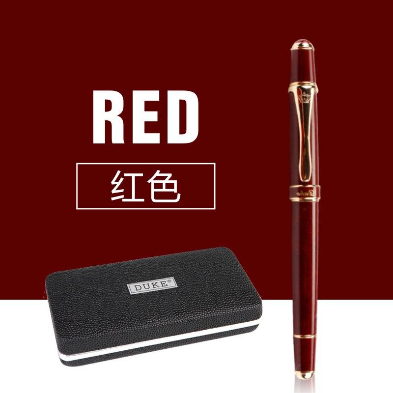 Suministros de papelería de oficina escolar Duke vino de lujo rojo y dorado Clip Rollerball Pen 0,7mm bolígrafos metálicos para regalo